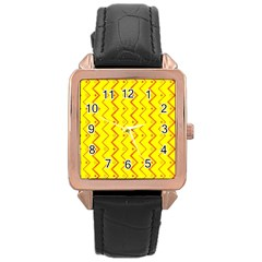 Yellow Background Abstract Rose Gold Leather Watch