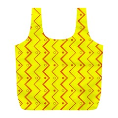 Yellow Background Abstract Full Print Recycle Bags (l)
