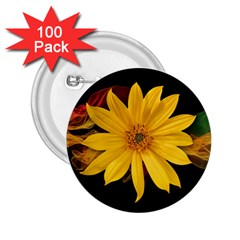 Sun Flower Blossom Bloom Particles 2 25  Buttons (100 Pack)  by Nexatart