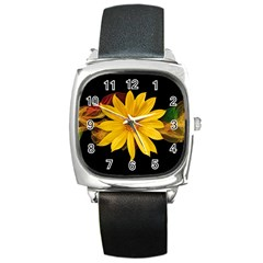 Sun Flower Blossom Bloom Particles Square Metal Watch
