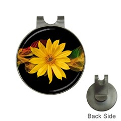 Sun Flower Blossom Bloom Particles Hat Clips With Golf Markers by Nexatart