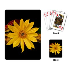 Sun Flower Blossom Bloom Particles Playing Card by Nexatart