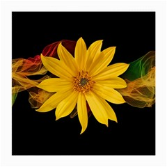 Sun Flower Blossom Bloom Particles Medium Glasses Cloth (2 Side) by Nexatart