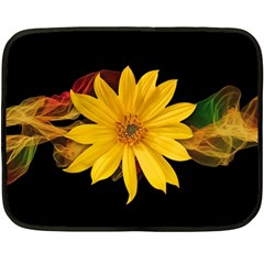 Sun Flower Blossom Bloom Particles Double Sided Fleece Blanket (mini)  by Nexatart