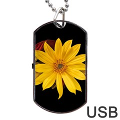 Sun Flower Blossom Bloom Particles Dog Tag Usb Flash (two Sides) by Nexatart