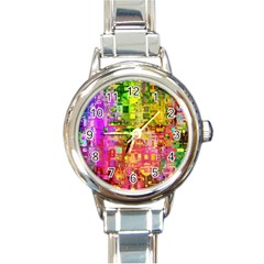 Color Abstract Artifact Pixel Round Italian Charm Watch by Nexatart
