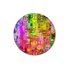Color Abstract Artifact Pixel Magnet 3  (round)