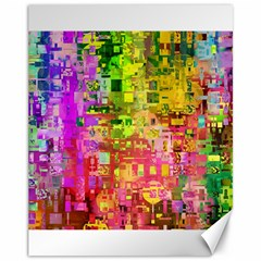 Color Abstract Artifact Pixel Canvas 11  X 14   by Nexatart