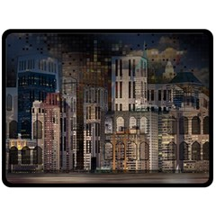 Architecture City Home Window Fleece Blanket (large)
