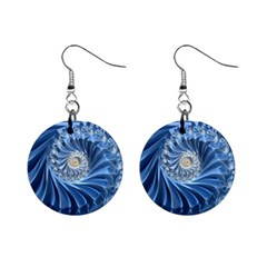 Blue Fractal Abstract Spiral Mini Button Earrings