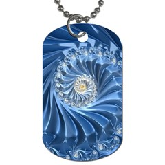 Blue Fractal Abstract Spiral Dog Tag (one Side)
