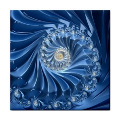 Blue Fractal Abstract Spiral Face Towel by Nexatart