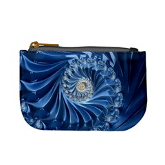 Blue Fractal Abstract Spiral Mini Coin Purses