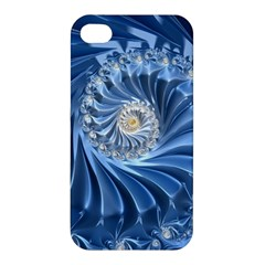 Blue Fractal Abstract Spiral Apple Iphone 4/4s Premium Hardshell Case