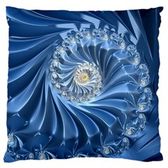 Blue Fractal Abstract Spiral Large Cushion Case (two Sides)