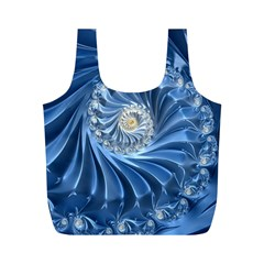 Blue Fractal Abstract Spiral Full Print Recycle Bags (m)
