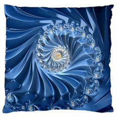 Blue Fractal Abstract Spiral Large Flano Cushion Case (two Sides) by Nexatart