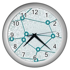 Network Social Abstract Wall Clocks (silver)