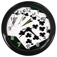Poker Hands   Royal Flush Clubs Wall Clocks (black) by FunnyCow