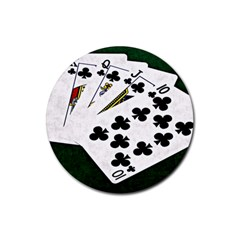 Poker Hands   Royal Flush Clubs Rubber Round Coaster (4 Pack)