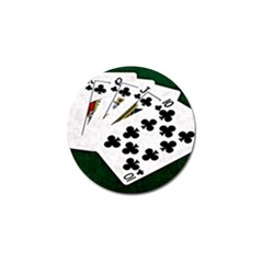 Poker Hands   Royal Flush Clubs Golf Ball Marker by FunnyCow