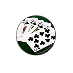 Poker Hands   Royal Flush Clubs Hat Clip Ball Marker by FunnyCow