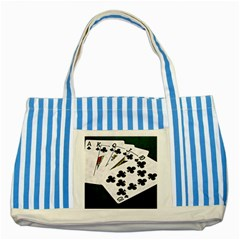 Poker Hands   Royal Flush Clubs Striped Blue Tote Bag by FunnyCow