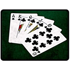 Poker Hands   Royal Flush Clubs Fleece Blanket (large)  by FunnyCow