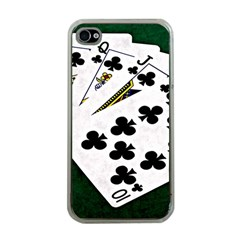 Poker Hands   Royal Flush Clubs Apple Iphone 4 Case (clear) by FunnyCow