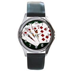Poker Hands   Royal Flush Diamonds Round Metal Watch by FunnyCow