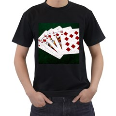 Poker Hands   Royal Flush Diamonds Men s T Shirt (black) (two Sided) by FunnyCow