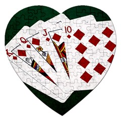 Poker Hands   Royal Flush Diamonds Jigsaw Puzzle (heart) by FunnyCow