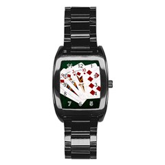 Poker Hands   Royal Flush Diamonds Stainless Steel Barrel Watch by FunnyCow