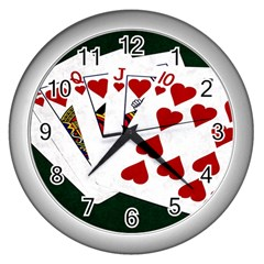 Poker Hands   Royal Flush Hearts Wall Clocks (silver)  by FunnyCow