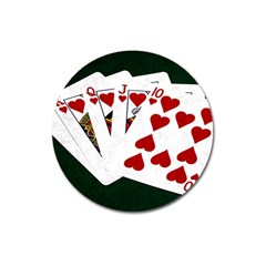 Poker Hands   Royal Flush Hearts Magnet 3  (round) by FunnyCow