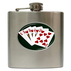 Poker Hands   Royal Flush Hearts Hip Flask (6 Oz) by FunnyCow