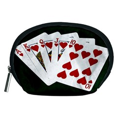 Poker Hands   Royal Flush Hearts Accessory Pouches (medium)  by FunnyCow