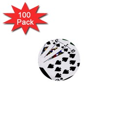 Poker Hands   Royal Flush Spades 1  Mini Buttons (100 Pack)  by FunnyCow