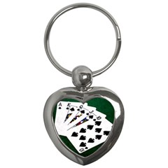 Poker Hands   Royal Flush Spades Key Chains (heart)  by FunnyCow