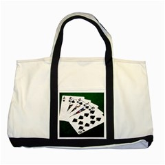 Poker Hands   Royal Flush Spades Two Tone Tote Bag by FunnyCow