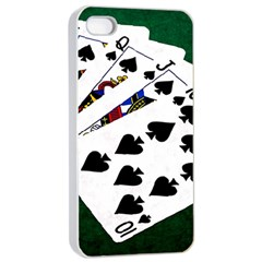 Poker Hands   Royal Flush Spades Apple Iphone 4/4s Seamless Case (white) by FunnyCow