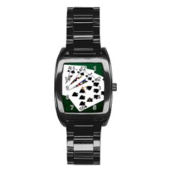 Poker Hands   Royal Flush Spades Stainless Steel Barrel Watch by FunnyCow