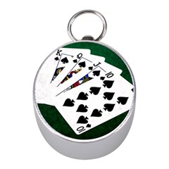 Poker Hands   Royal Flush Spades Mini Silver Compasses by FunnyCow