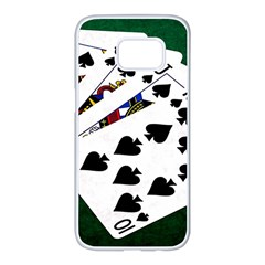 Poker Hands   Royal Flush Spades Samsung Galaxy S7 Edge White Seamless Case by FunnyCow