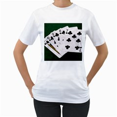 Poker Hands   Straight Flush Clubs Women s T Shirt (white) (two Sided) by FunnyCow