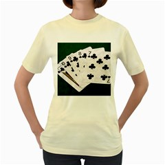 Poker Hands   Straight Flush Clubs Women s Yellow T Shirt