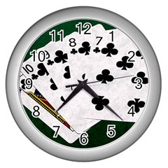 Poker Hands   Straight Flush Clubs Wall Clocks (silver)  by FunnyCow