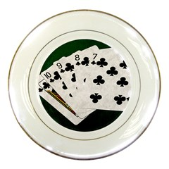 Poker Hands   Straight Flush Clubs Porcelain Plates by FunnyCow