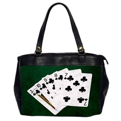 Poker Hands   Straight Flush Clubs Office Handbags (2 Sides)  by FunnyCow