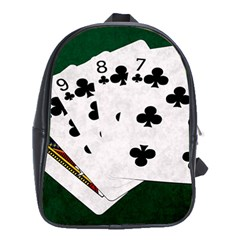 Poker Hands   Straight Flush Clubs School Bag (xl) by FunnyCow